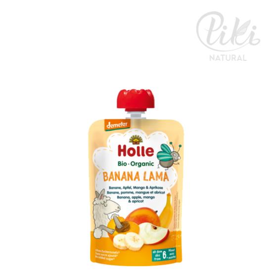 BANANA LAMA banán, alma, mangóval és sárgabarackkal - Bio gyümölcspüré – 100g -HOLLE