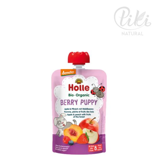 BERRY PUPPY alma őszibarackkal és erdei gyümölcsökkel -BIO gyümölcspüré- 100g –HOLLE