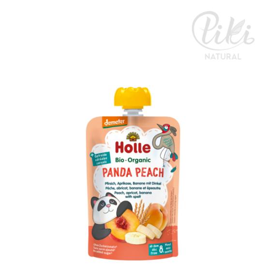 PANDA PEACH őszibarack, sárgabarack, banán tönköllyel -BIO gyümölcspüré- 100g –HOLLE