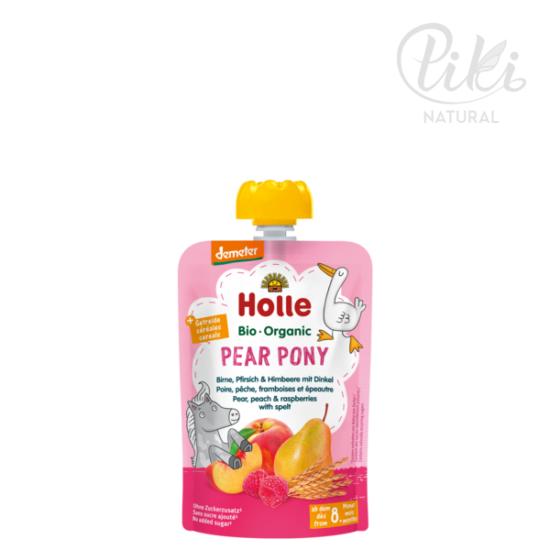 PEAR PONY körte, őszibarack málnával és tönköllyel  -BIO gyümölcspüré- 100g –HOLLE