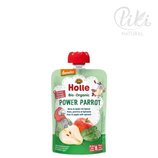 POWER PARROT körte almával és spenóttal -BIO gyümölcspüré- 100g –HOLLE